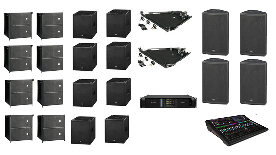 PA Hire Package 9, 6 HK Audio CTA208 Speakers, 6 HK Audio CT118 Sub's, 4 HK audio CT115 Monitors, 1 Allen and Heath GLD-80 Mixer, powered by Lab.Gruppen FP Series with microphones, DI Boxes and cabling included.